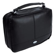 BIBLE COVER-TWO-FOLD LUX LEATHER ORGANIZER BLK MED